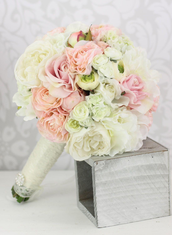 Silk Bride Bouquet Peony Flowers Pink Cream Spring Mix Shabby Chic ...