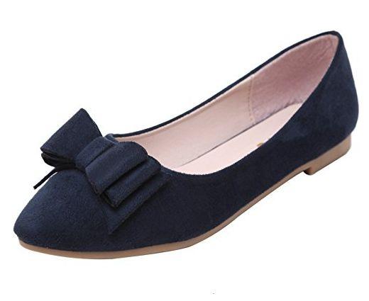 DQQ Damen Schleife Spitz Zulaufender Zehenbereich Flache Schuhe, Blau - Navy - Größe: 36