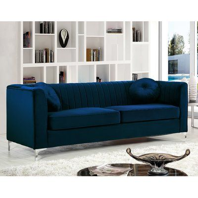 Willa Arlo Interiors Herbert Sofa Upholstery Color Navy In 2021 Living Room Sets Navy Velvet Sofa Blue Sofa Set