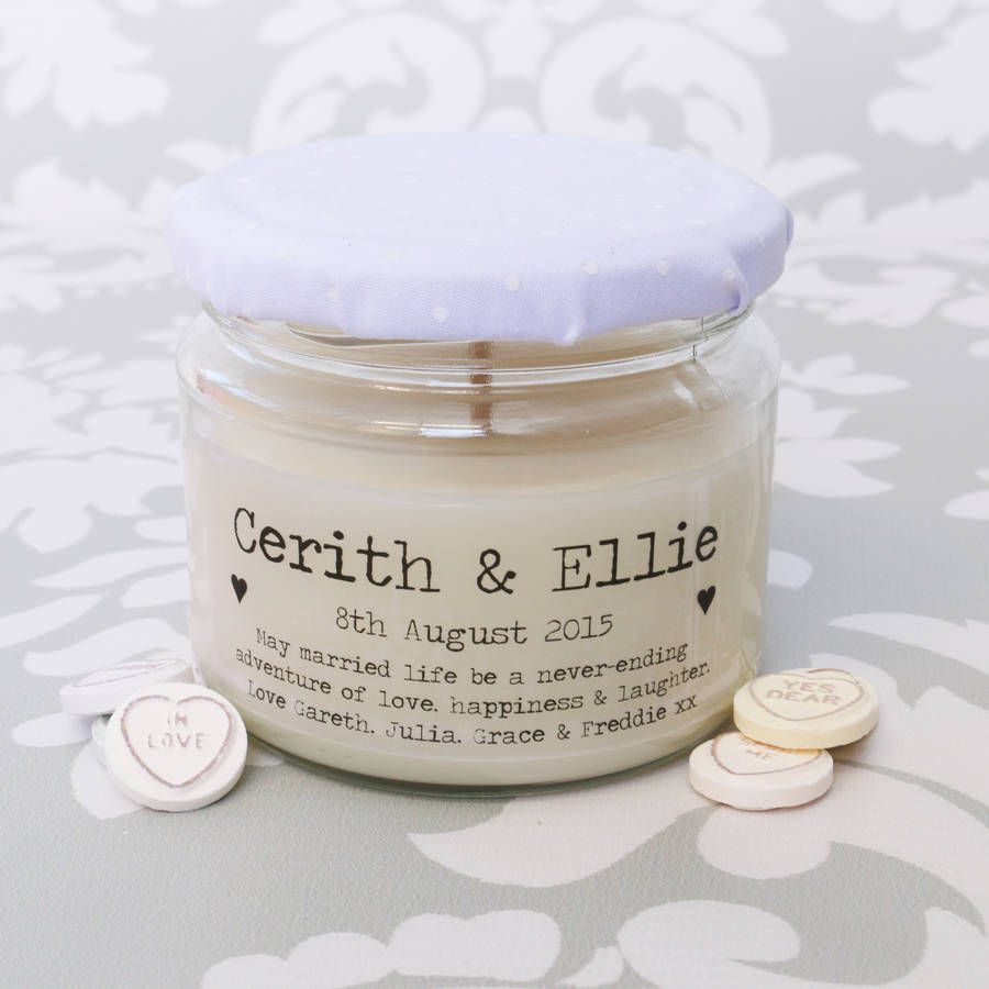 Personalised Candle From Not On The High Street Unusual Wedding GiftsWedding