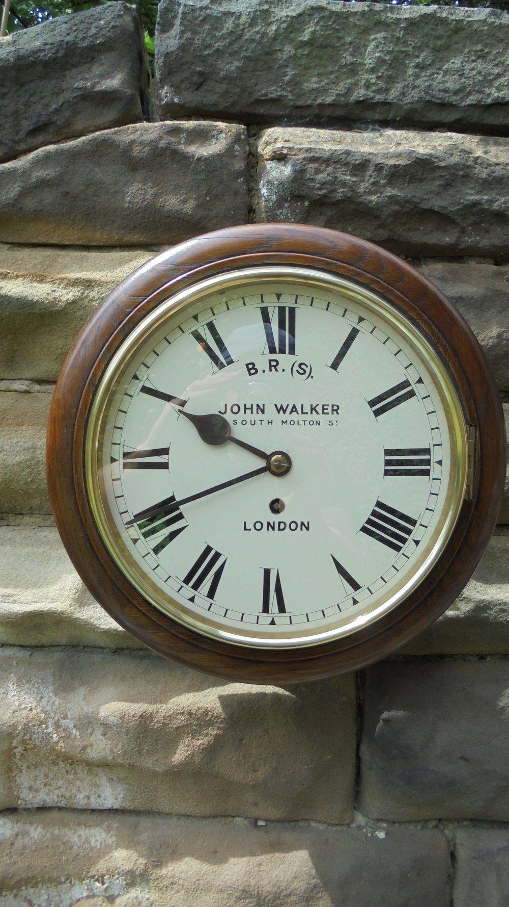 Antique Oak Cased Fusee Railway Clock