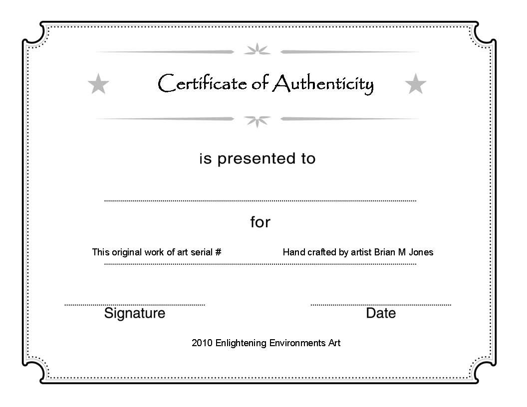 graphic relating to Printable Certificate of Authenticity titled ArtCertificate1 kk certification of authenticity Blank