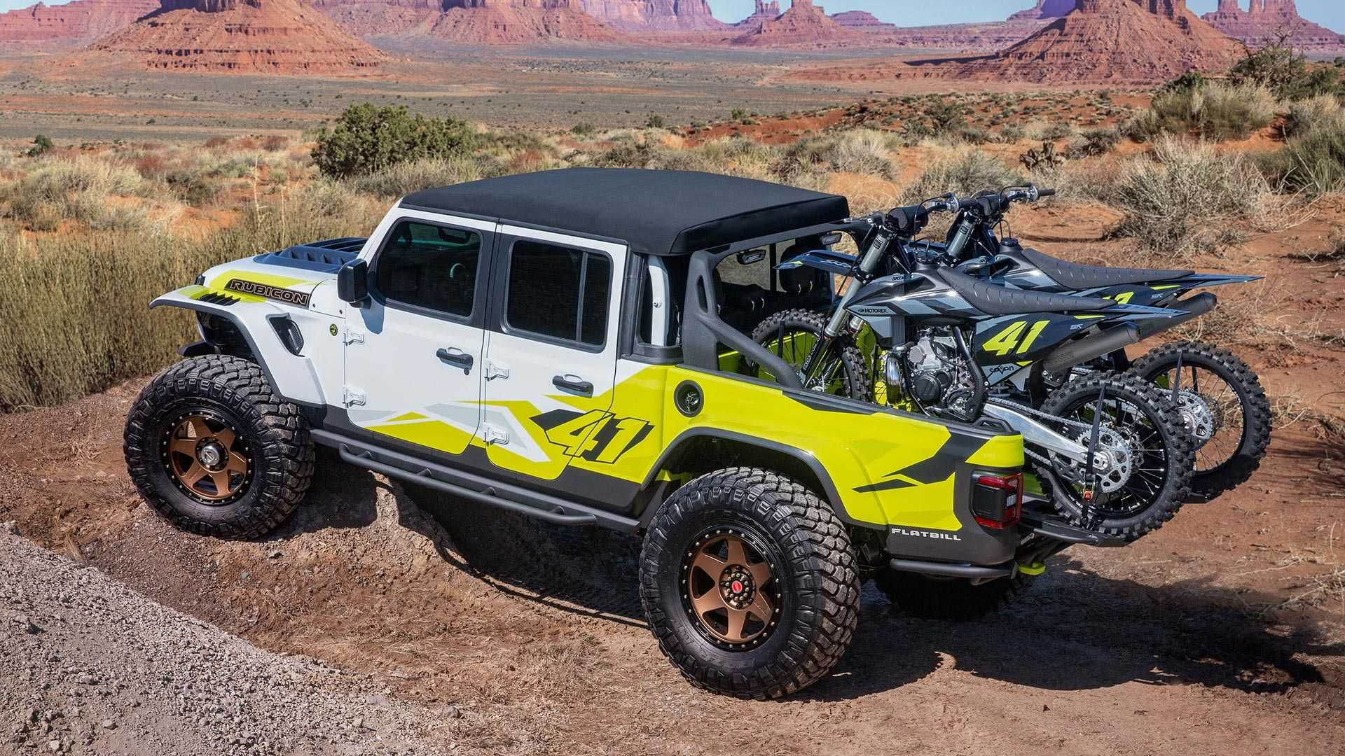 The Jeep Gladiator Flatbill Is A Purpose Built Dirt Bike Hauler With Modified Pieces That Facilitate Getting Your Bikes Jeep Gladiator Jeep Easter Jeep Safari
