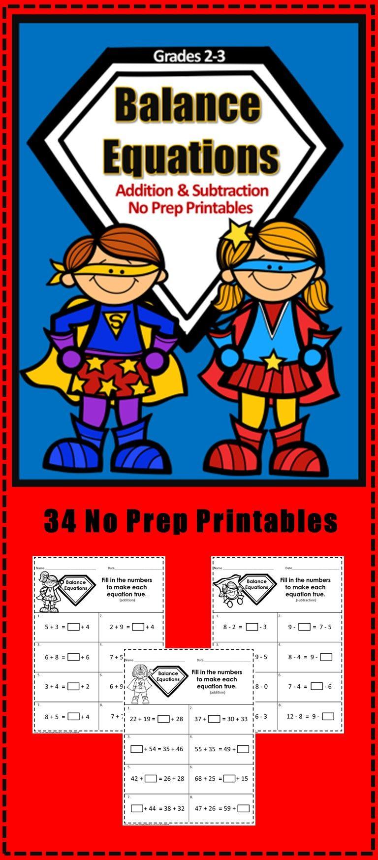Addition And Subtraction Balance Equations 34 No Prep Printables Grades 2 3 Superhero Theme Addition And Subtraction Superhero Theme Equations Addition and subtraction balancing