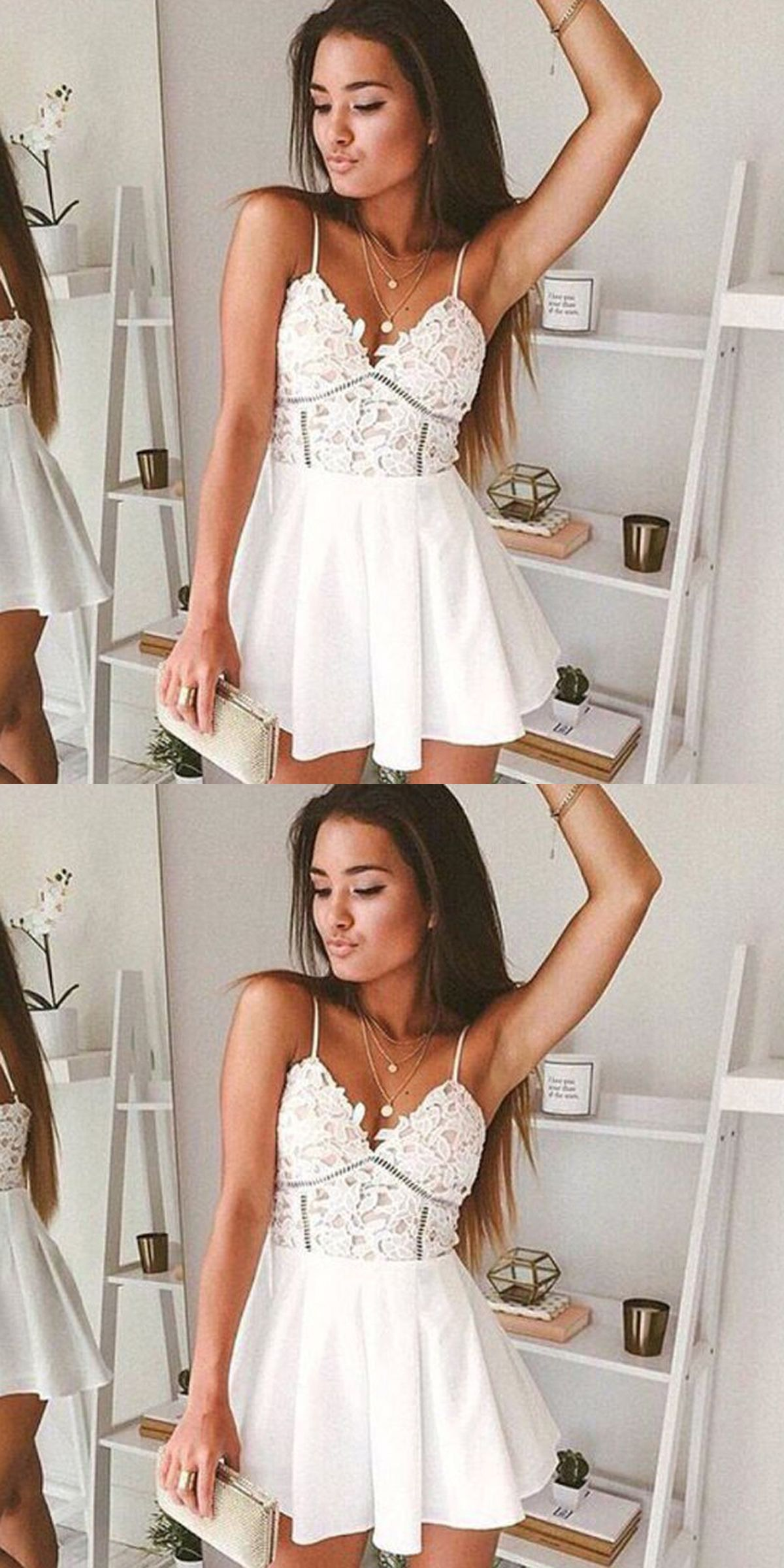 3c08e039165b A-Line Spaghetti Straps White Chiffon Mini Homecoming Dress with Lace