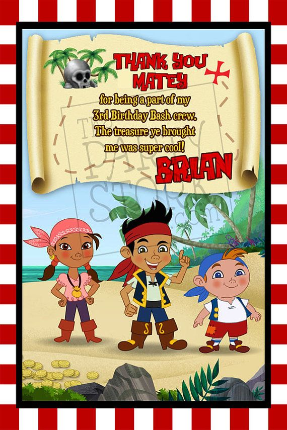 Jake and the Neverland Pirates Thank You Card by thepartystork ...