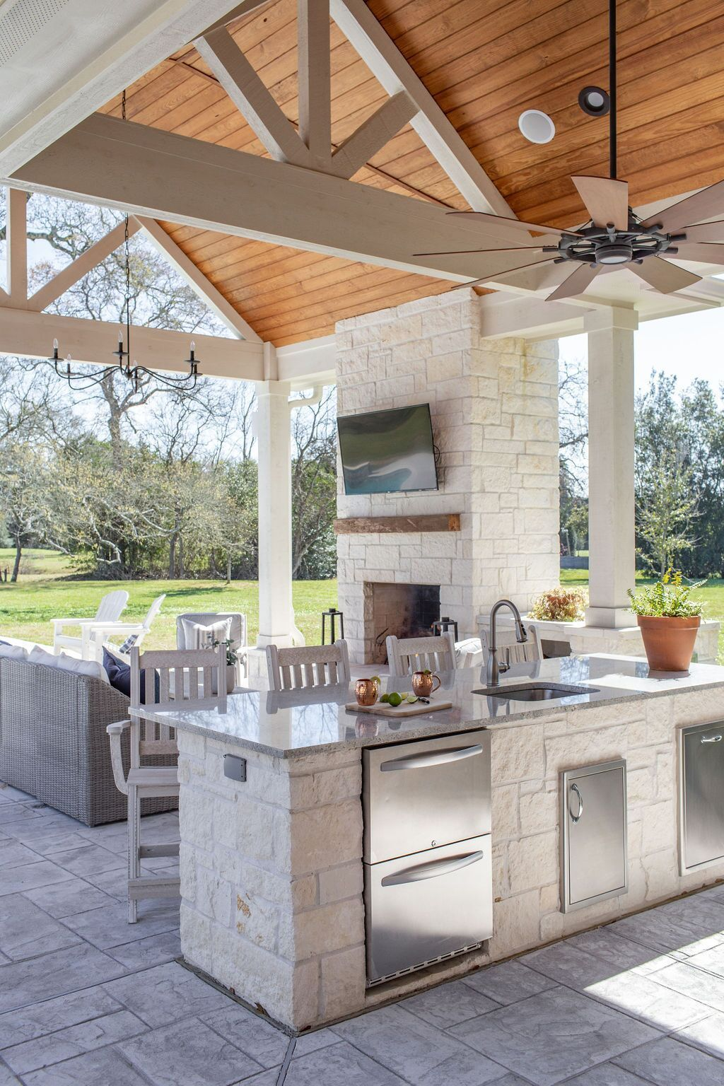Outdoor Living Area Designed By Moore House Interiors Of Tomball Texas In 2020 Moore House Living Area Design Outdoor Living