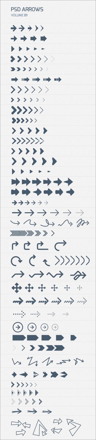 200種類以上の矢印・アローが揃ったウェブデザインやプレゼンの資料などに無料で利用できるPSD素材 | コリス