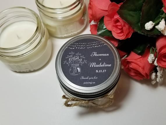 2137290c569 12 - 4oz Personalized Wedding Candle Favors - Thank You Gift for Guests - Bridal  Shower Candle Favor