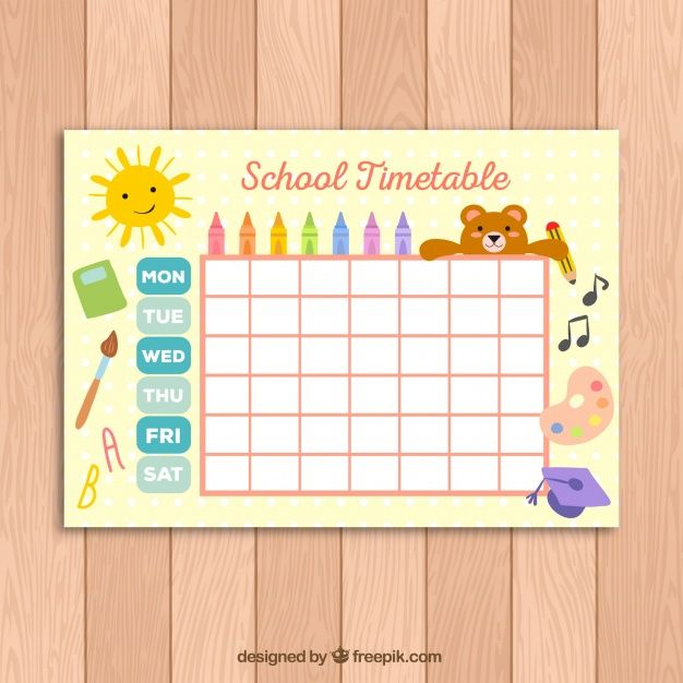Download Cute School Timetable Template For Kids For Free