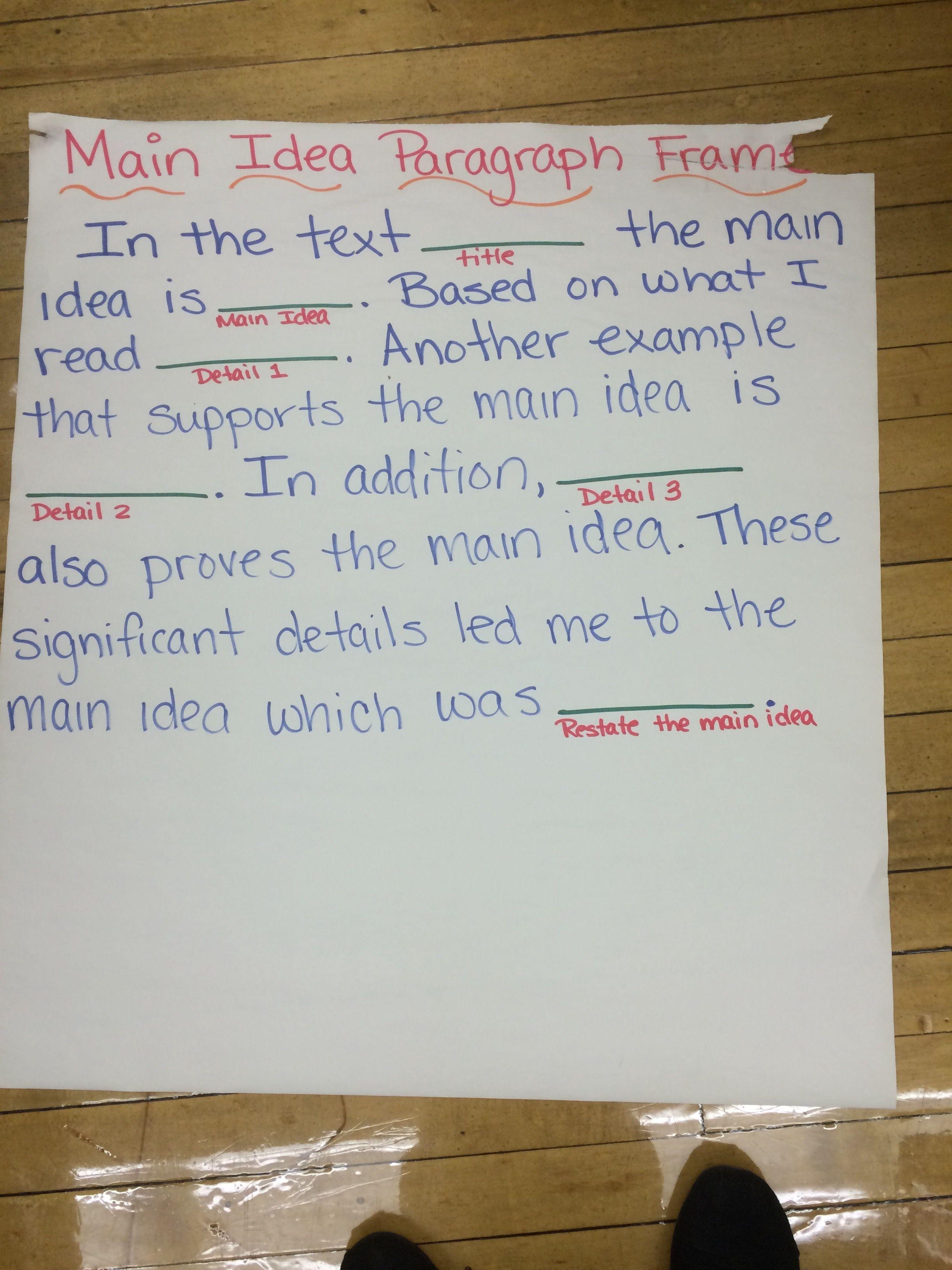 Main idea paragraph frame | ELL Sentence Frames | Pinterest ...