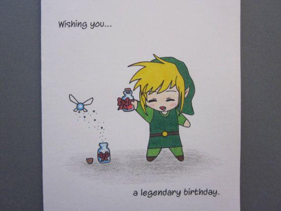 Zelda Inspired Birthday Card By Abitofimagination On Etsy 6 50 Zelda Birthday Birthday Cards Zelda Gifts