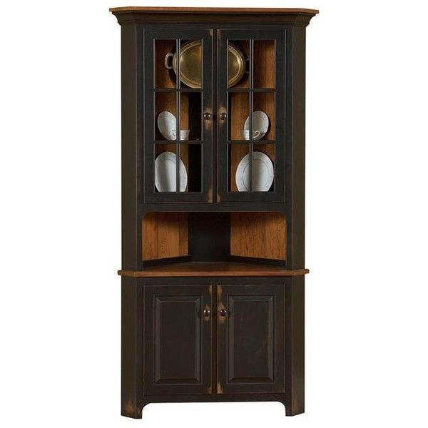 Amish Plymouth Corner Hutch $2136 ❤ Liked On Polyvore Fair Corner Hutch Dining Room Decorating Design