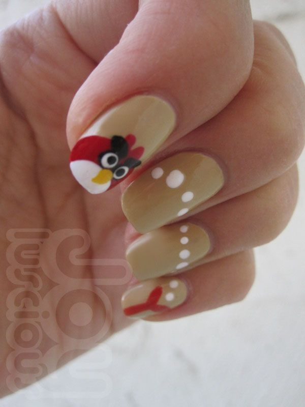 Tutorial: Angry Bird and Queen Pig nail art | Funny Nail Art Designs ...