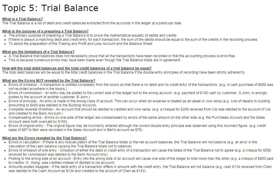 Topic 5 Trial Balance POA Tuition - Revision Notes Pinterest - preparing a profit and loss statement
