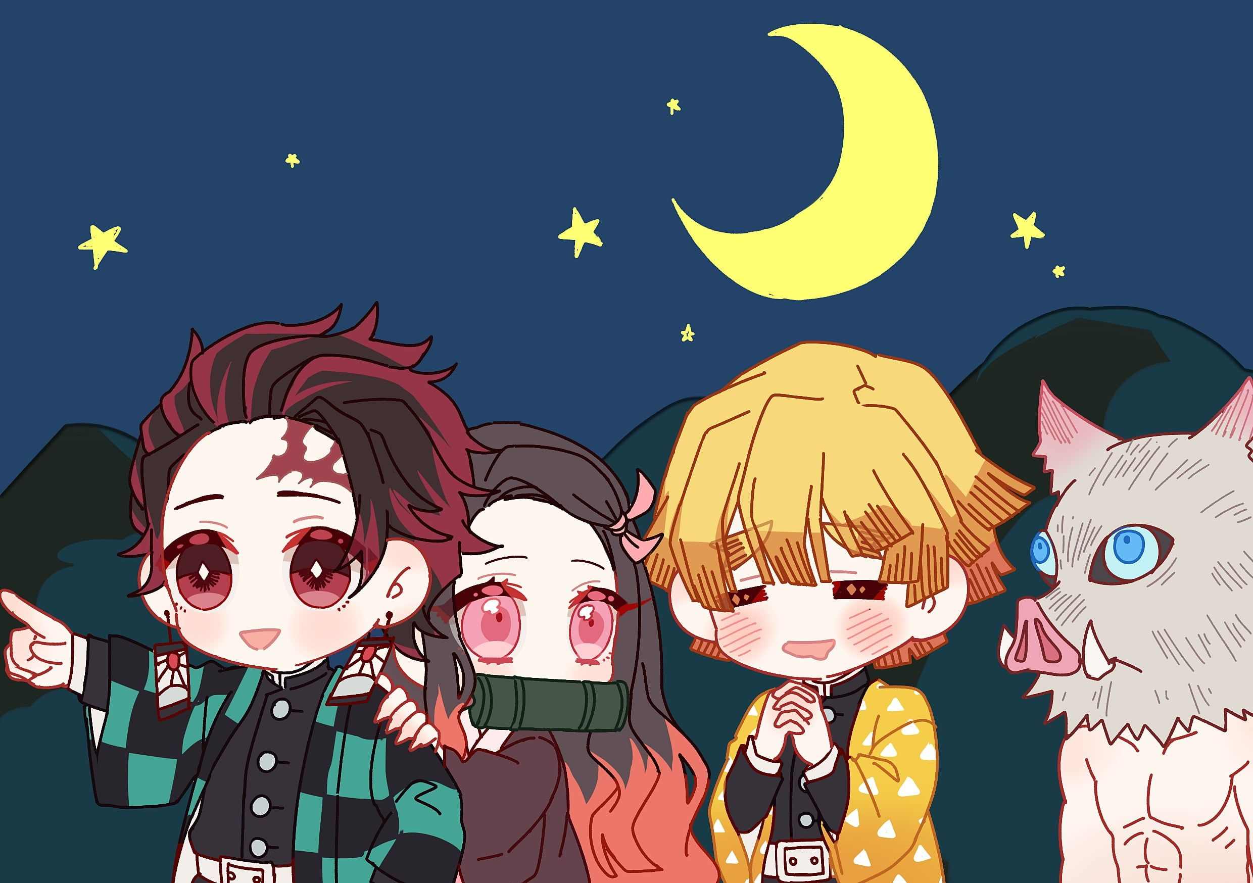 Anime Demon Slayer Kimetsu No Yaiba Inosuke Hashibira Nezuko Kamado Tanjirou Kamado Zenitsu Agatsum Cool Anime Wallpapers Hd Anime Wallpapers Chibi Wallpaper