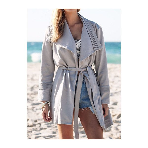 Turndown Collar Belt Design Trench Coat ($27) ❤ liked on Polyvore featuring outerwear, coats, grey, long sleeve coat, print coat, print trench coat, long coat and long trench coat