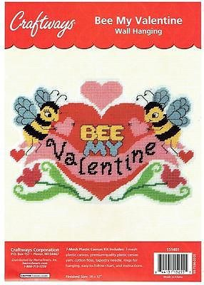 Bee My Valentine Wall Hanging Plastic Canvas Pattern 478
