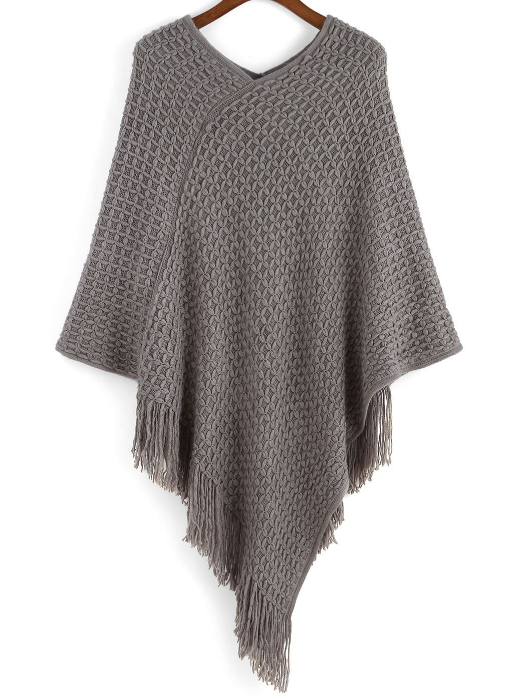 07bed3856af V Neck Tassel Poncho | WANT TO WEAR | Grey poncho, Tassels, Cape coat