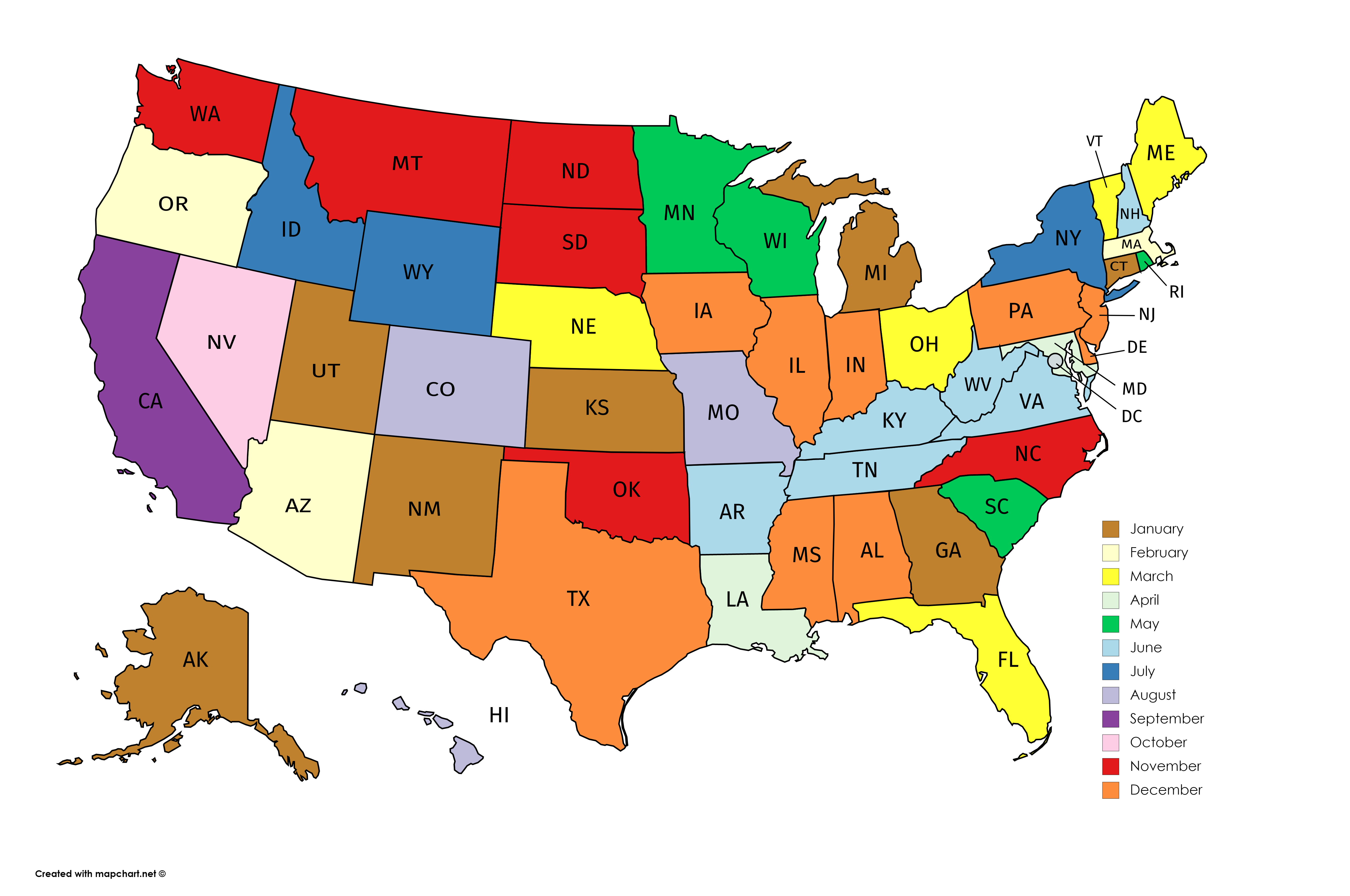 U.S. States by Month of Admission | Us map, Map, U.s. states on georgia map, canadian province map, connecticut map, canada map, oklahoma map, missouri map, michigan map, texas map, indiana map, oregon map, virginia map, north carolina map, california map, tennessee map, louisiana map, delaware map, arkansas map, arizona map, ohio map, europe map,
