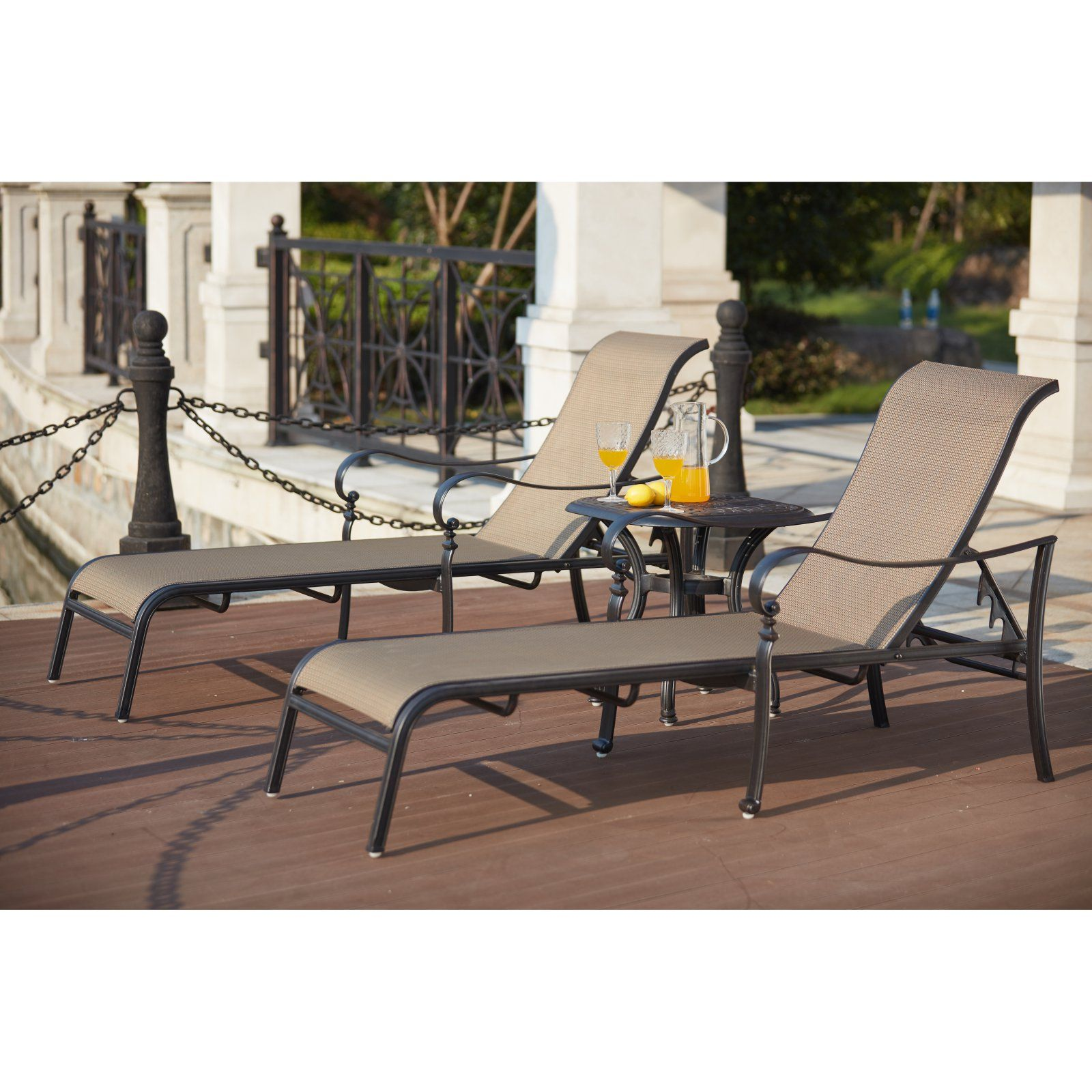 Piece Aluminum Outdoor Chaise Lounge