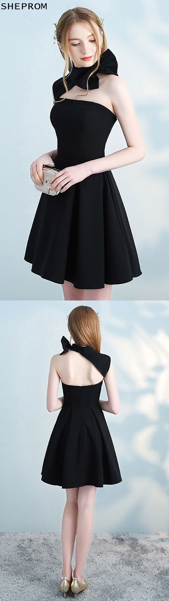 Black halter short homecoming dress open back with bow