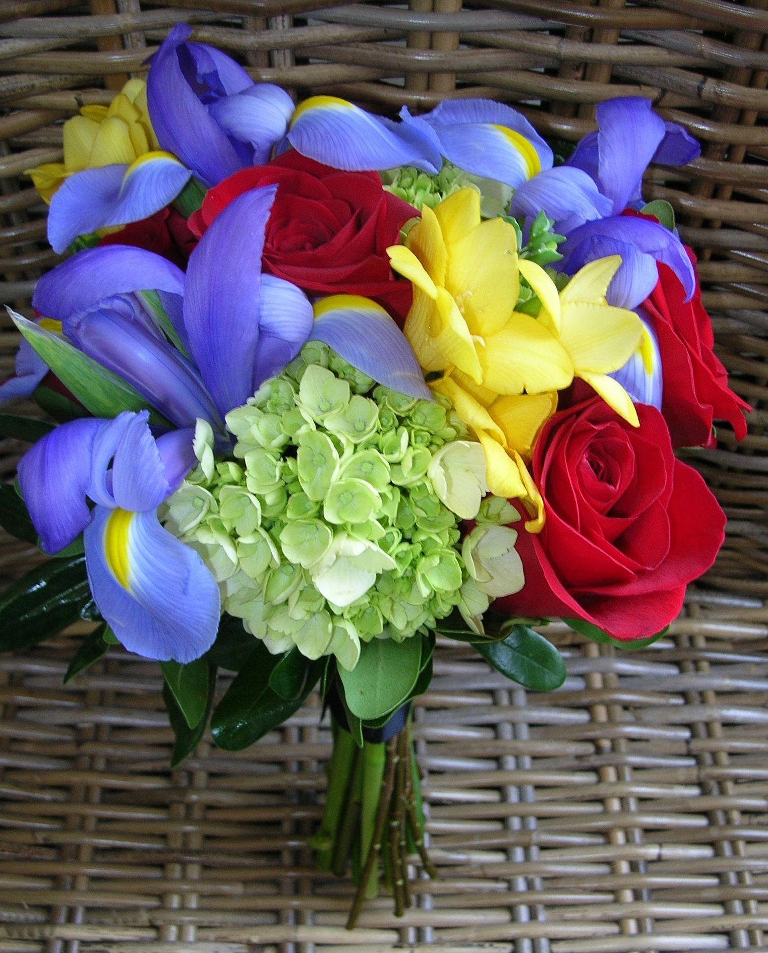 Green hydrangea yellow freesia red roses blue iris bouquet green hydrangea yellow freesia red roses blue iris bouquet mightylinksfo