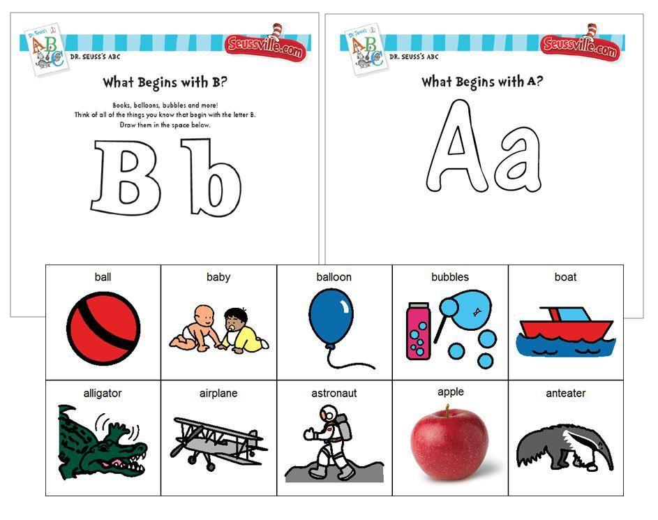 Dr Seuss Initial Sound Phonemic Awareness B A Sort Color