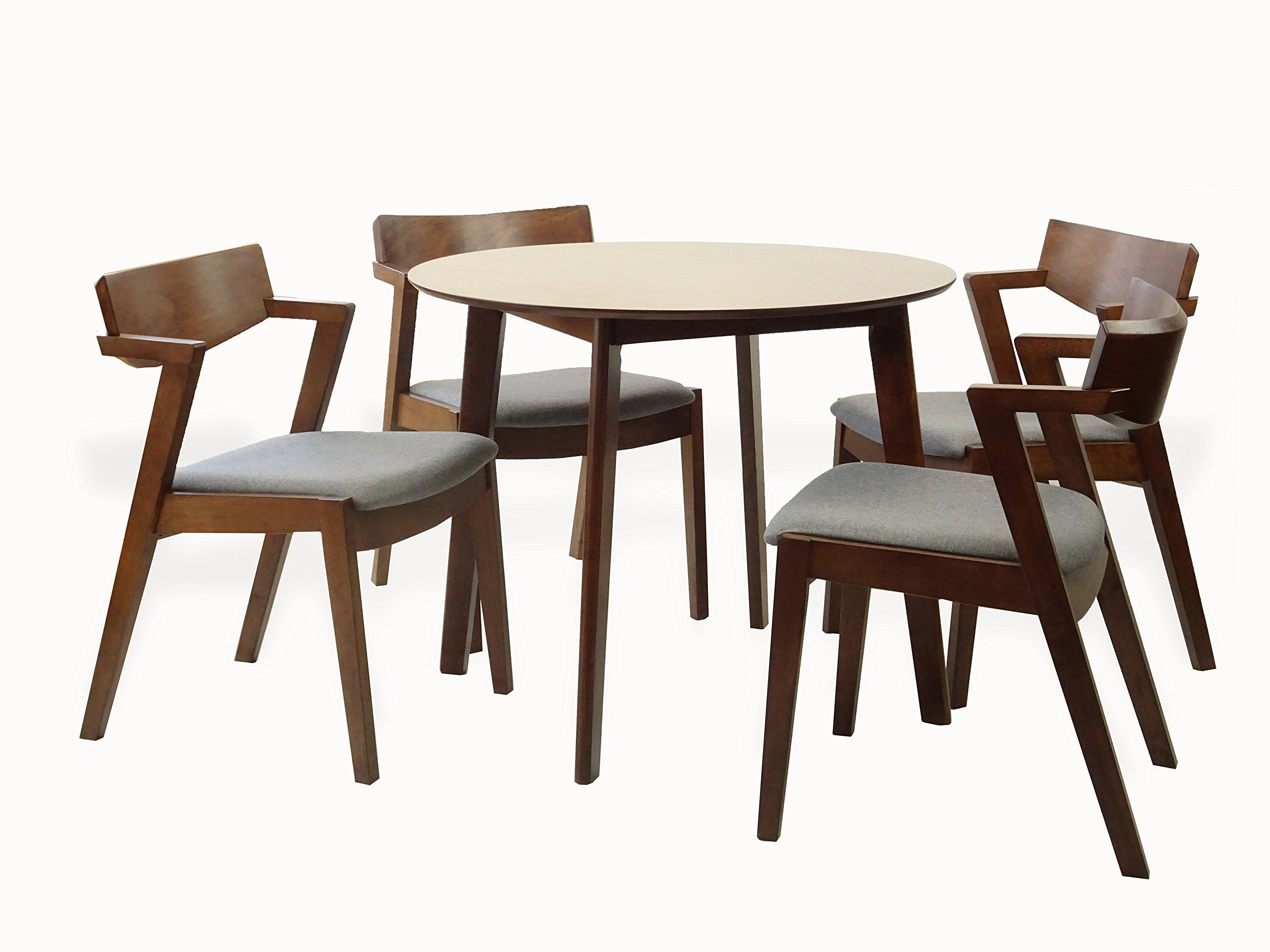 Rattan Wicker Furniture Set Of 5 Dining Kitchen Round Table And 4 Tracy Armchairs Solid Wood W Padded Seat Medium Kitchen Armchairs Furniture Dining Furniture
