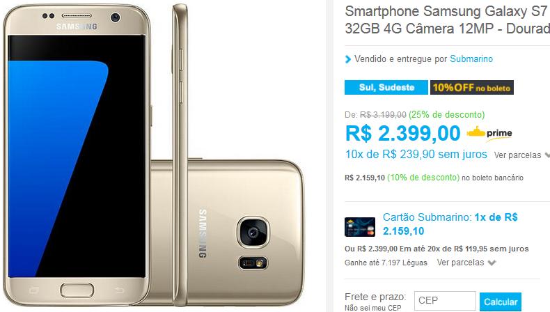 "Samsung Galaxy S7 Android 6.0 Tela 5.1"" 32GB 4G Câmera"