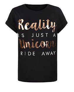 1814540f4 Teens Black Unicorn Slogan T-Shirt | New Look | Screens | T shirt ...