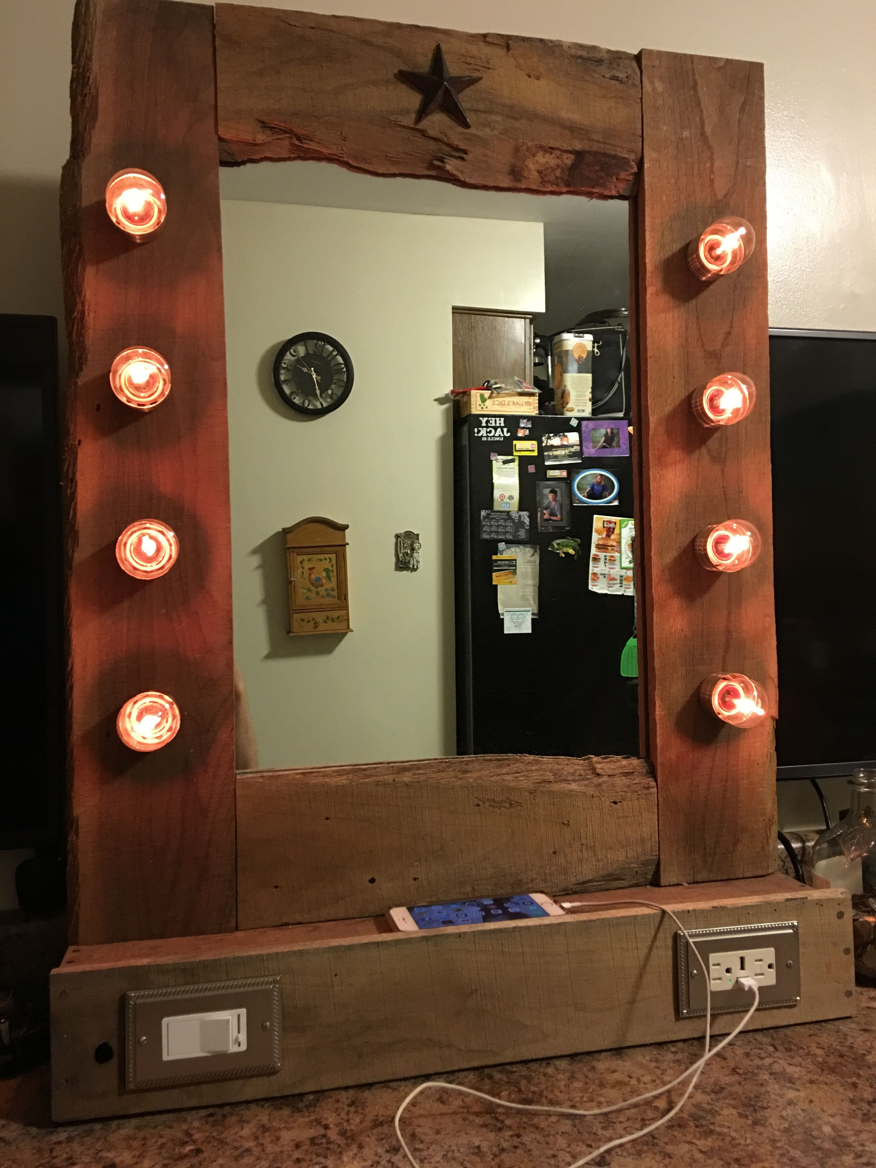DIY lighted vanity mirror with dimmer and USB tamper