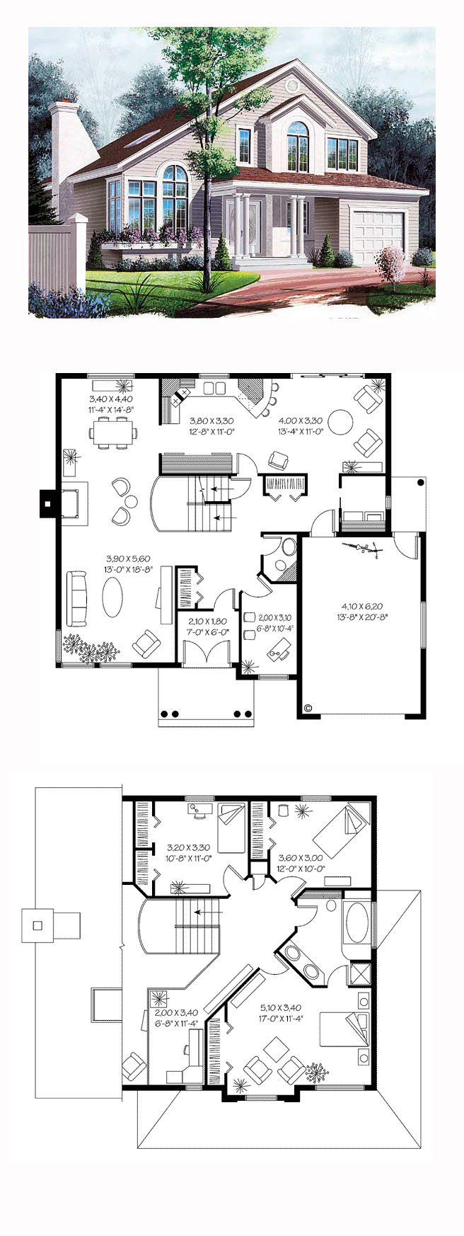 European Style House Plan 65253 With 3 Bed 2 Bath 1 Car Garage Victorian House Plans Sims House Plans House Plans