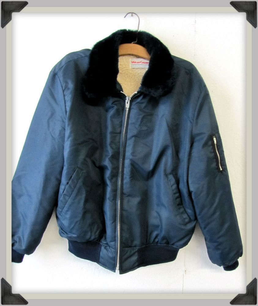 d9f4f3dd Vintage Men's WearGuard Classic Bomber Jacket Fleece Lined Navy Blue ...