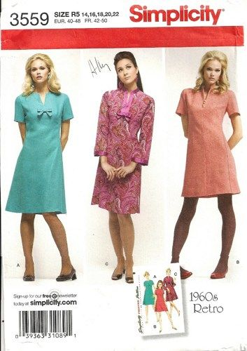 2007 Simplicity 3559 1960's Retro Sewing Pattern. Misses A-line dress has front neckline slit, back zipper and short or wrist length sleeves.   Size 14, 16, 18, 20, 22 Bust 36, 38, 40, 42, 44 Waist 28