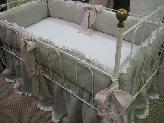 Best Washed Linen Ruffled Crib Bedding Oatmeal And Vintage 640 x 480