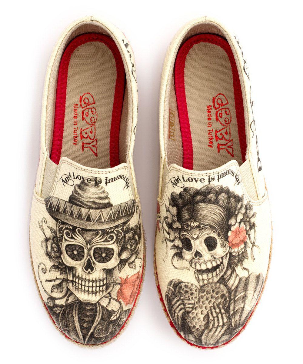 Goby Beige Sugar Skull Slip-On Espadrille | Chicano ...