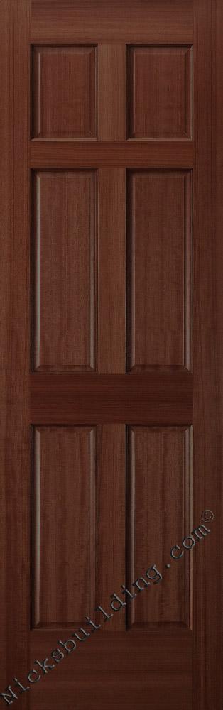 Mahogany wood 6 panel door stained in a dark walnut color finish six panel mahogany interior doors planetlyrics Gallery