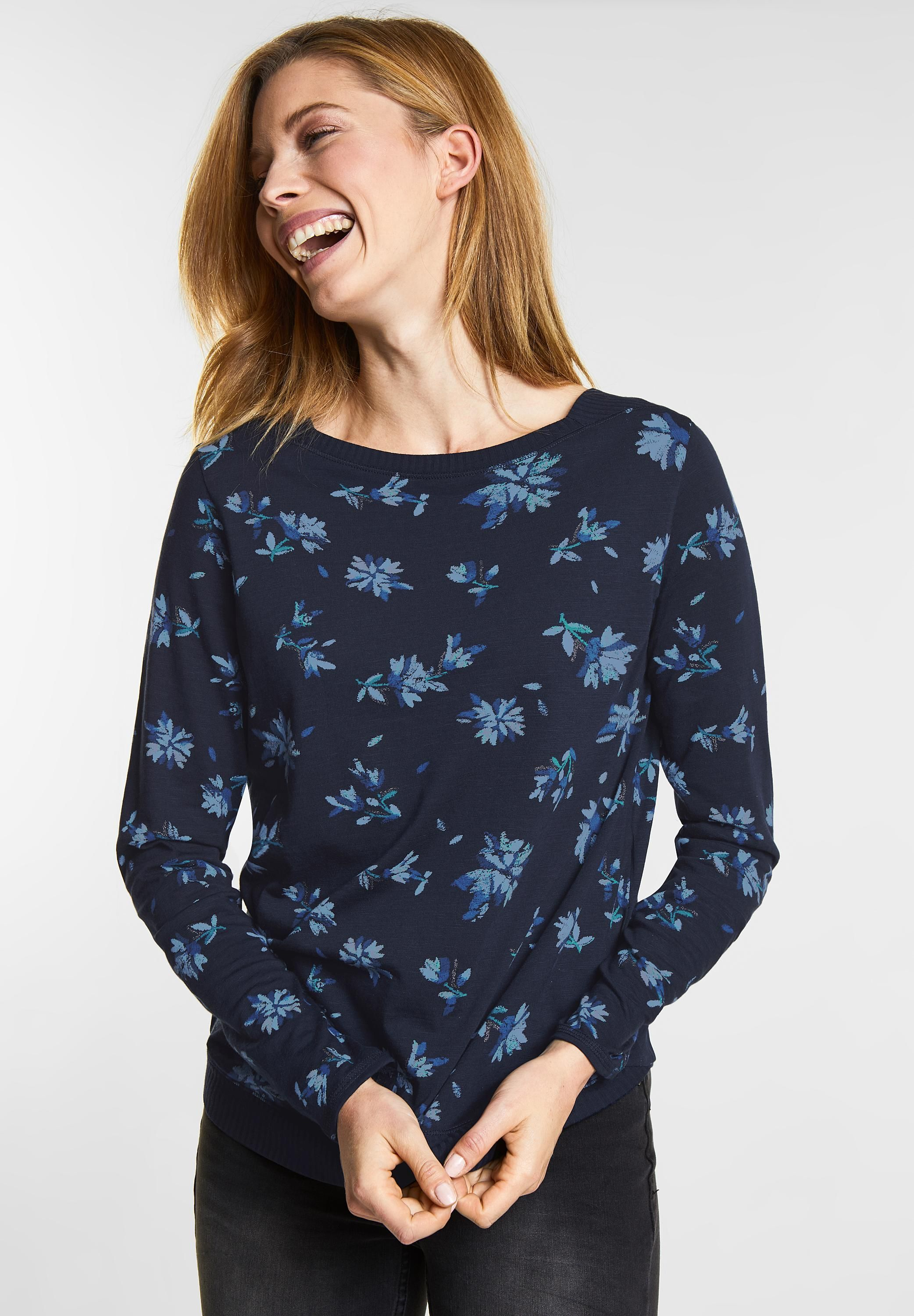CECIL Shirt mit Frontprint Xenia in Deep Blue