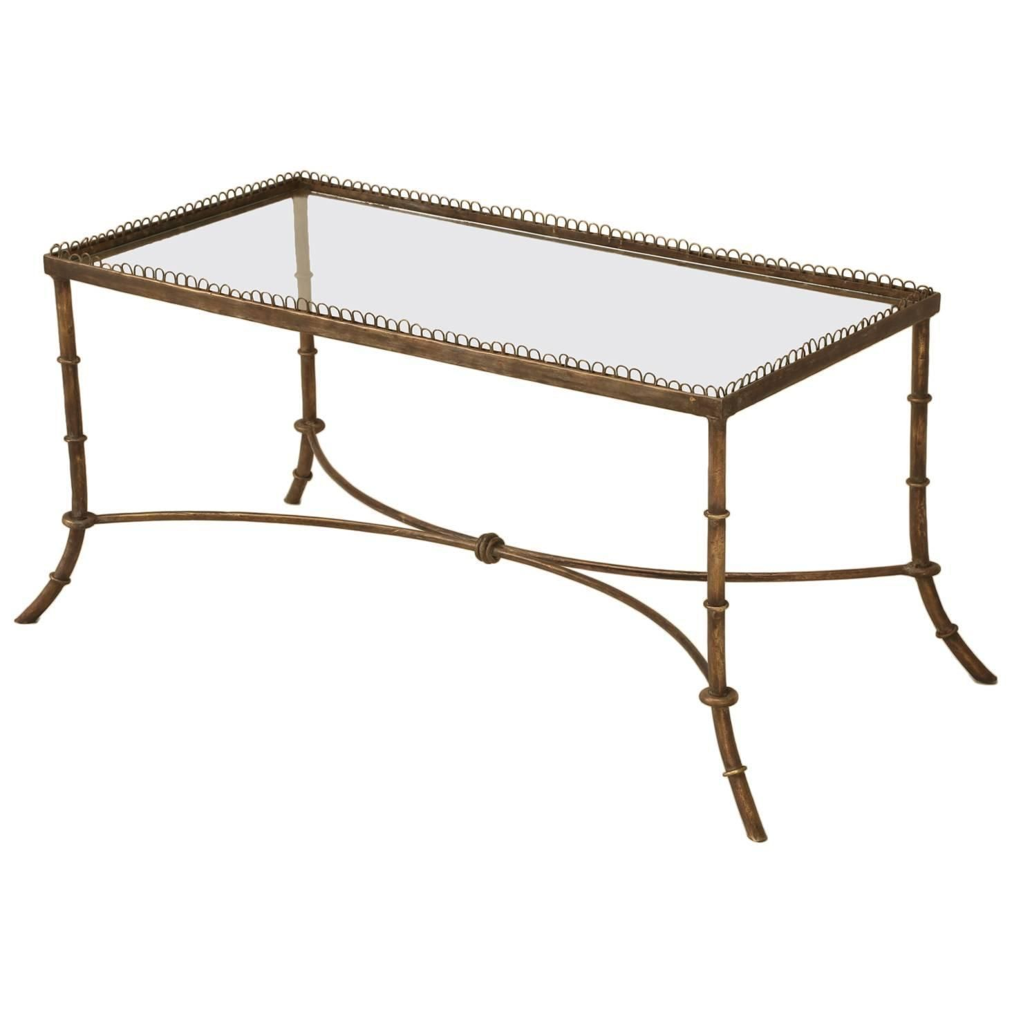 vintage french brass and glass coffee table glass