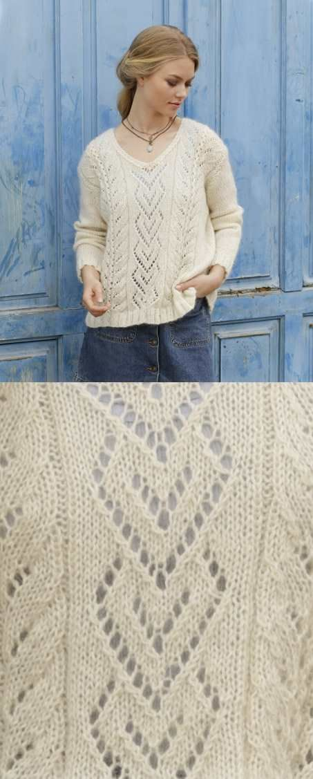 The Pearl Free Lace Sweater Knitting Pattern | Tejidos | Pinterest ...
