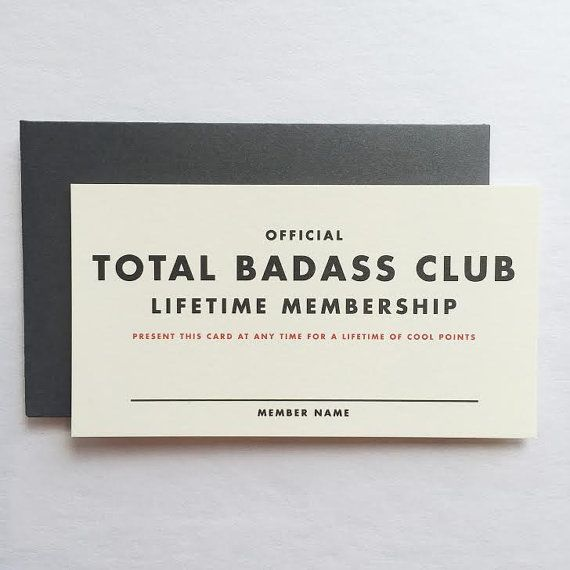 Official Lifetime Membership Card Total Badass by ShopRedArrow - printable membership cards