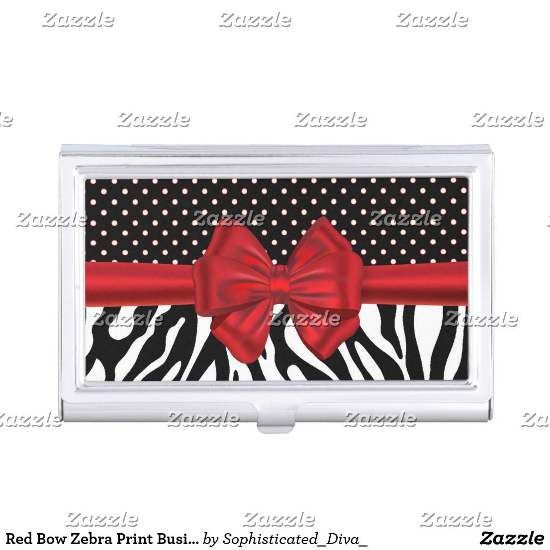 Red Bow Zebra Print Business Card Holder | Zazzle | Pinterest