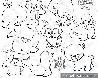Woodland Animals Digital Stamps Clipart Taş Boyama Sanatı