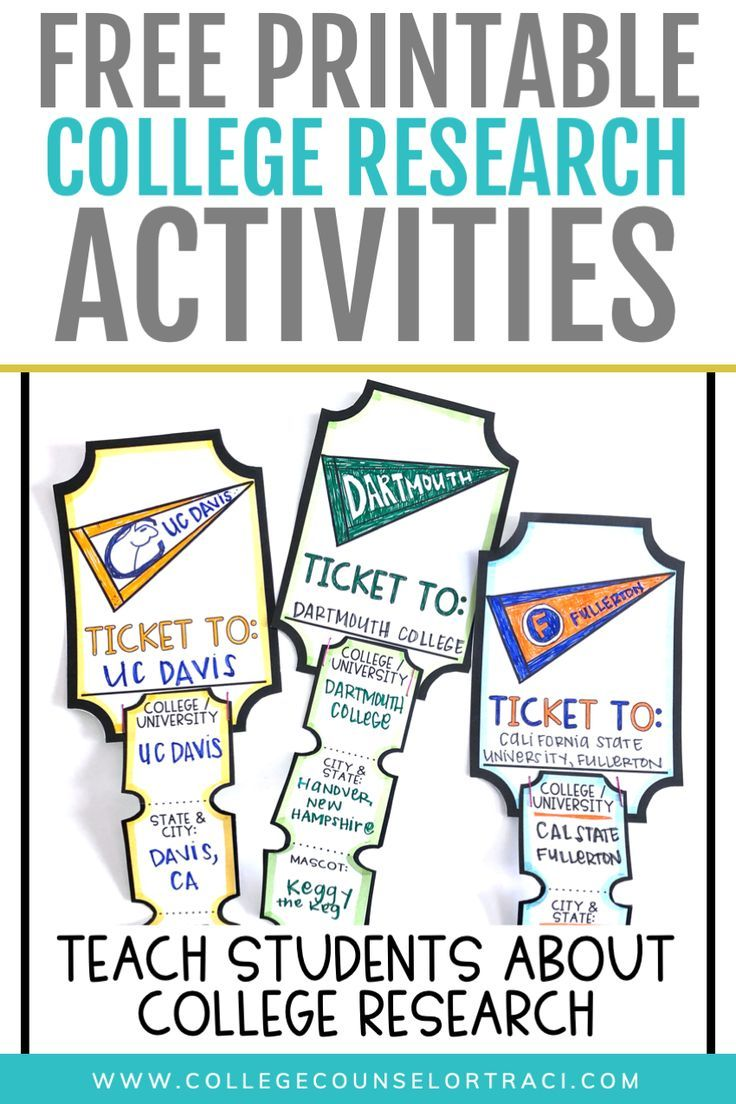 Free printable college research activity  Get your students