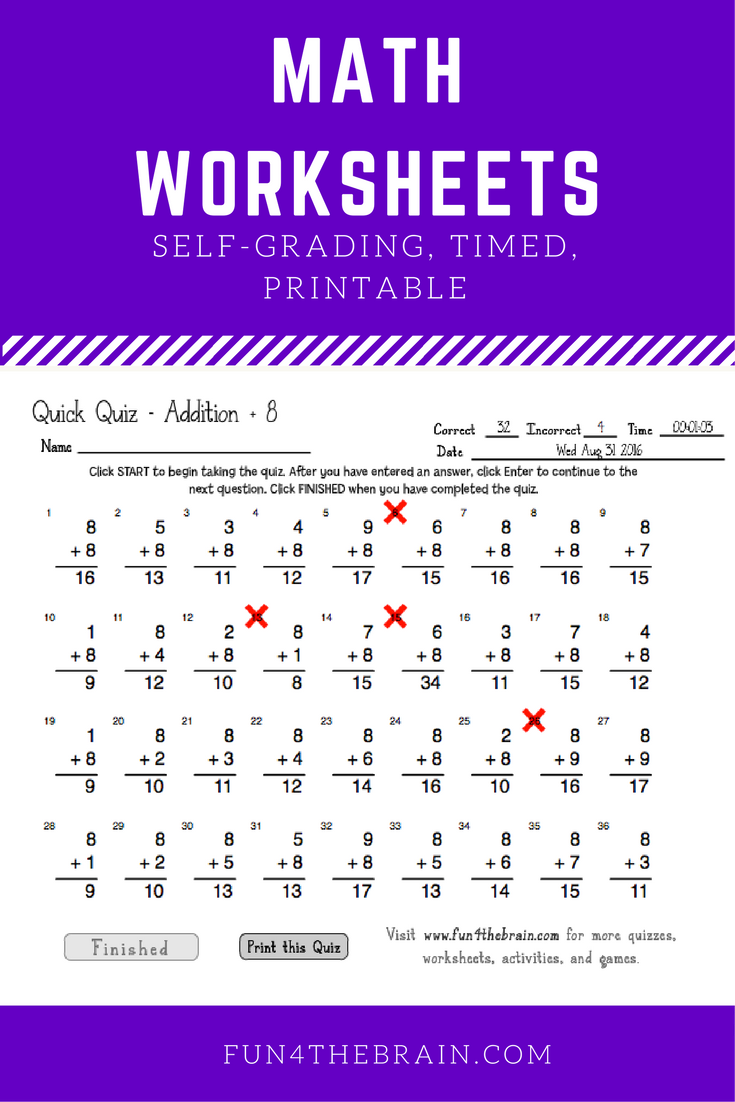 Self Grading Timed Online Worksheets And Quizes For Addition