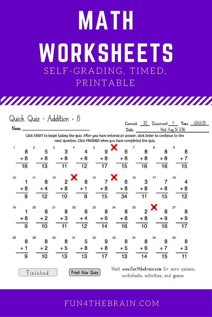 math worksheet : self grading timed online worksheets and quizes for addition  : Multiplication Online Worksheets