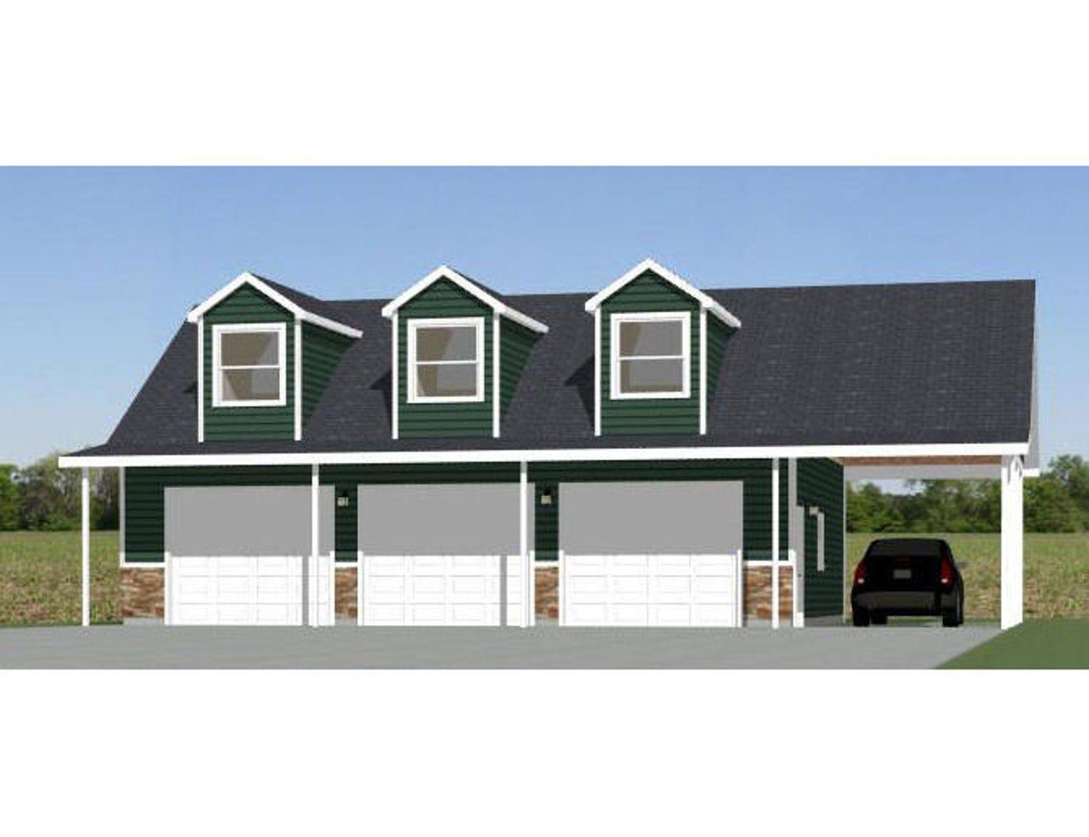 40x30 3 Car Garage 1 894 sq ft PDF Floor Plan Instant Download Model 10