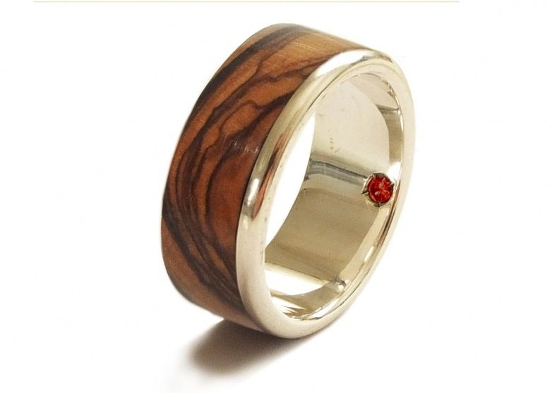 Mens Garnet Wedding Band