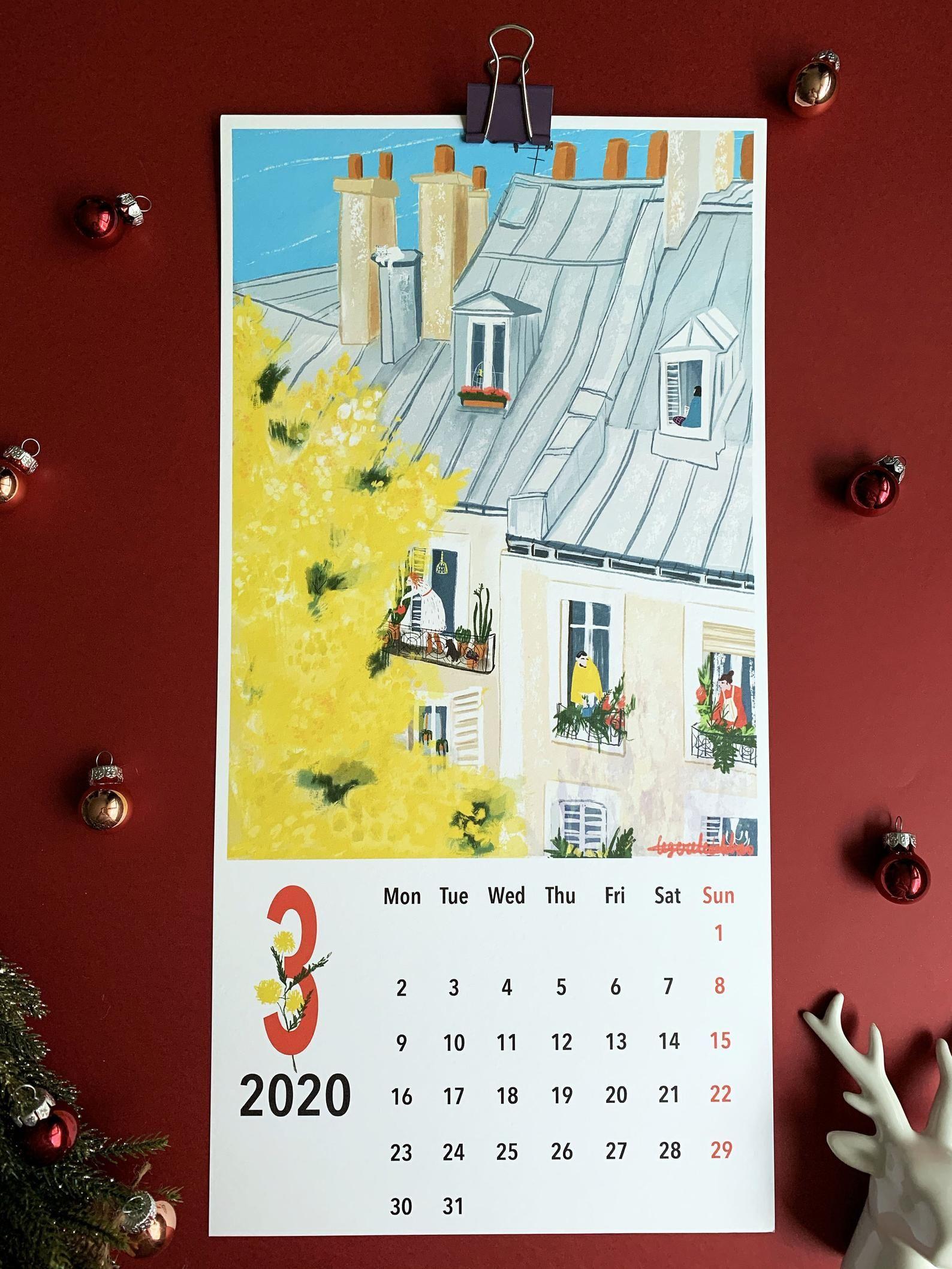 2020 Wall Calendar|happy new year 2020|Illustrated ...